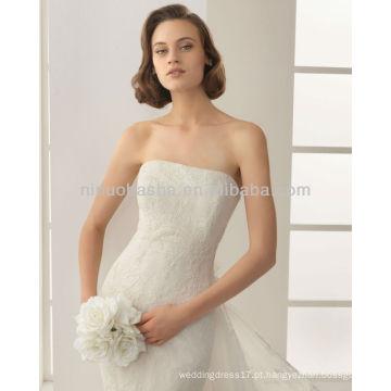 Elegante 2014 Strapless Lace Mermaid Vestidos de casamento com um casaco de renda de manga curta destacável fora do ombro NB007
