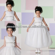 HF2023 Nice midriff features with jewel neckline tea-length kids girl dress