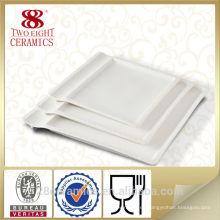 Cubiertos de restaurante de encargo usados, platos al por mayor para buffet, plato de postre cuadrado blanco