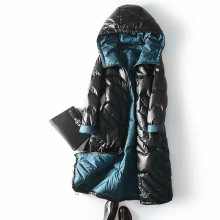 Ladies Hooded Long Puffer Goose Down Coat