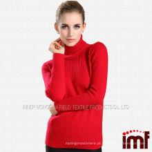 Camisola de malha de gola alta de cashmere das mulheres