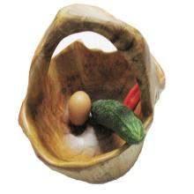 Antique Primitive sculpté naturel beau bol en bois avec poignée