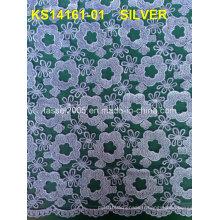 Tissu en dentelle brodé en tulle bordé en tulle blanc