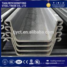 U tipo pilha de chapa de aço laminada a quente 400x100mm China preço de fábrica