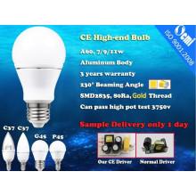 2015 mais novos bulbos A60 E27 7W CRI > condutor de alumínio IC 80 diâmetro-fundição com lâmpadas de LED de CE e ROHS