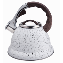 White marble whistling stovetop tea pot kettle