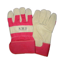 Pig Grain Safety Work Glove, Full Palm, Cotton Back Rubberized Cuff