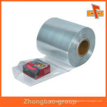 Water proof heat sensitive customizable shrinkable attractive pvc transparent film in roll for packing