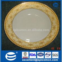 Luxus goldene Knochen Porzellan Geschirr aus Porzellan flache Platte