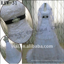 RSW-31 2011 Hot Sell New dress Ladies Fashionable Elegant Customized Beautiful Pearl Beaded Tiered Tuller And Lace Bridal Dress