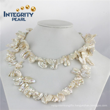 """12-16mm Biwa Pearl Long Necklace 36"""" Single Pearl Necklace"""