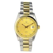 Couleurs combinées Ss et Gold Noble Gentleman Luxury Timepiece avec fenêtre de date