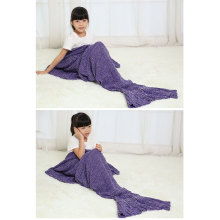 Knitted Sea-Maid Sleeping Bag Mermaid Tail Blanket Fish Tail Shape Blanket
