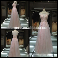 2017 hot sell applique pink sheath gown bridesmaid dress