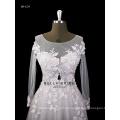 2017 nova chegada elegante A-line vestido de casamento de tule com luz rosa flor