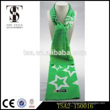 Hierba color verde dos caras blanco gran estampado de estrellas de seda bufanda último diseño