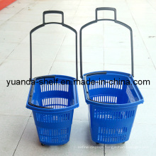 Wholesale Supermarket Plastic Rolling Shopping Basket with Wheels
