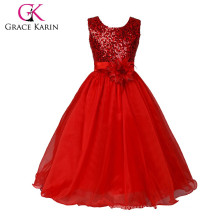 Grace Karin 2015 New Arrival Sleeveless Ball Gown Sequins Voile Red Flower Girl Dresses CL007596-3