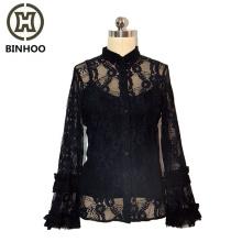 2019 Custom Ladies Sexy Black Lace Long Sleeve See Through Crop Blouse