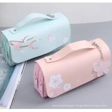 School Office Cute Cherry Blossom Pastel Pen Holder Bag Pouch Stationery Sakura Kawaii Pencil Case
