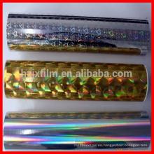 Películas metalizadas de laminación térmica metalizada / película de laminación térmica holograma / película de laminación bopp