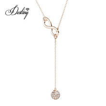 Love Eight Drop Sparkling Austrian Crystal Ball Pendant Fashion Y Necklace for Women