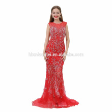 Cauda longa padrões de cintura alta vestido de noite 2017 vestido de festa vermelho longo pornô