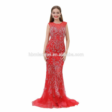 Lange Tail Muster hohe Taille Abendkleid 2017 rot Party Kleid lange Porno