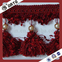 Curtain Trim Lace tassel fringe of Pompom Shape with beads,used for drapes,cushions,curtain and accessories,made in China