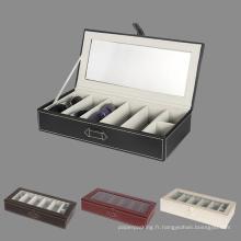 Coffre-fort en cuir de luxe en cuir avec boîte de vitesses claire