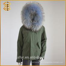 Vente en gros Femmes Manteau d'hiver Warm Fox Real Raccoon Fur Parka