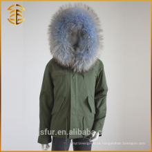 Casaco de inverno feminino atacado Warm Fox Real Raccoon Fur Parka