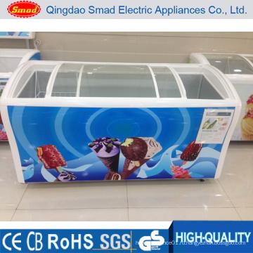 538L изогнутая стеклянная дверь морозильник для отображения мороженое