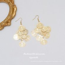 2021 New Arrivals Brass Gold Plated Fashion Exaggerated Leaves Hypoallergenic Drop Earring For Women