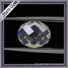 White Oval Checkerboard Facet Cubic Zirconia