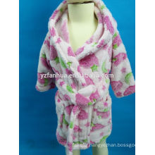 Wholesale printed Hooded Coral fleece bathrobe for Girls