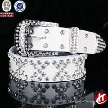 Trendy Fashion Fake Diamond Abrasive Cowhide Ceinture en cuir véritable pour femme