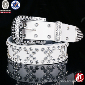 Moda moda falso diamante abrasivo cuero genuino cinturón de cuero para mujer
