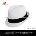 Yiwu завод поставщик дешевый белый цвет fedora шляпа пользовательский логотип группа