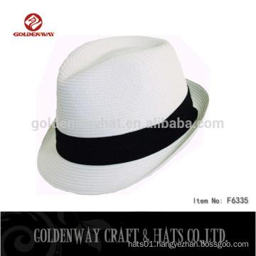 yiwu factory supplier cheap white color fedora hat custom logo band