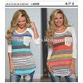 Wholesale women clothing long sleeve round neck t-shirt printing stripe summer cotton mini loose women T-shirt