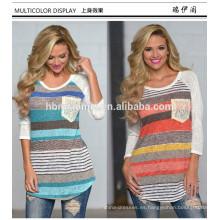 Ropa de mujer al por mayor de manga larga cuello redondo camiseta de rayas de algodón de verano mini flojo camiseta de las mujeres