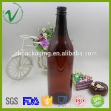 Популярная ПЭТ-янтарная круглая пластиковая бутылка оптом для упаковки вина