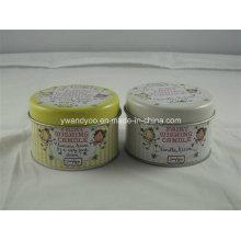 Caixa redonda customizável da lata com impressão a cores