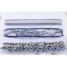 Multi couleur et Multi lignes de tissu Collier Tour de cou