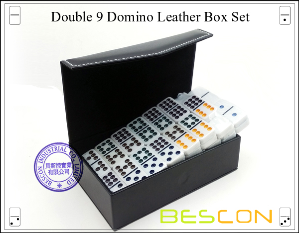 Double 9 Domino Leather Box Set