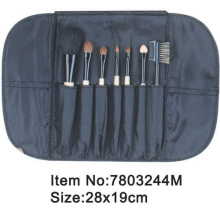 7pcs plastic handle makeup brush set with satin case