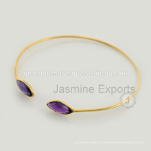 Beautiful Amethyst Gold Vermeil Gemstone Lovely Charm Bangle For Women