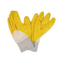 Interlock-Liner-Handschuh mit Nitril-beschichtetem offenem Rücken, Strick-Handgelenk