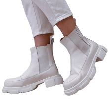 2021 New product hot sale winter women snow Stretch sleeve boots ladies pu leather solid color white causal shoes